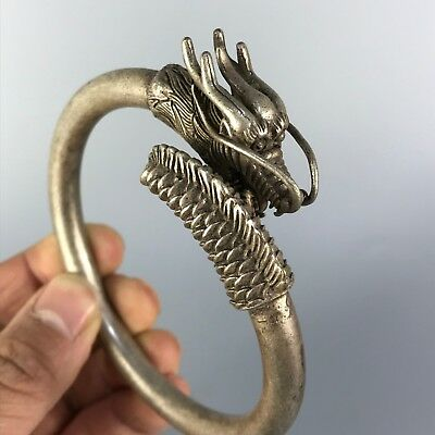 Rare Collectible Antique Old Tibet Silver Handwork Noble Dragon Chinese Bracelet