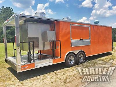New 2019 8.5X27 Enclosed Concession Mobile Food Vending Porch Trailer Bbq Smoker
