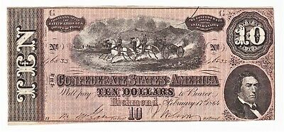 Seventh Issue Civil War 1864 CONFEDERATE STATES OF AMERICA $10 NOTE T-68