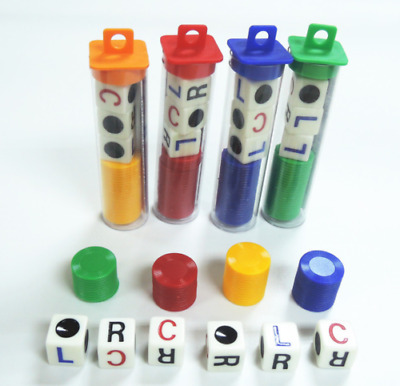 1 Set Acrylic Plastic Left Center Right Game Dice Multicolor Game Entertainment