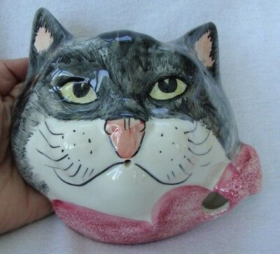 1970's Babbacombe Pottery Cat Kitten Head Wall Hanging Sconce String Dispenser