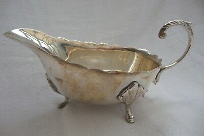 A Stylish Quality Silver Plate Gravy Sauce Boat Three Dainty Feet Scroll Handle