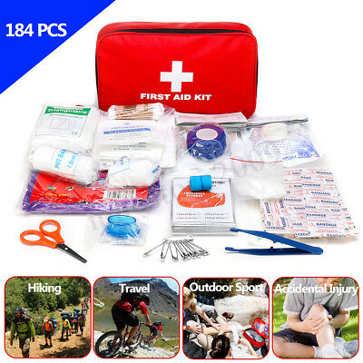184Pcs First Aid Kit Emergency Survival Medical Bag Gear Home Outdoor Travel Car
