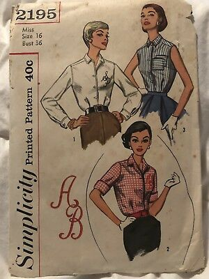 Vintage Sz 16 Womens Blouse Pattern With Transfers