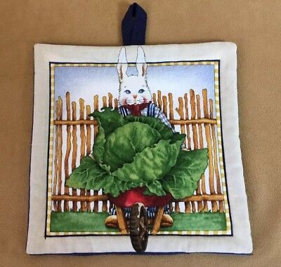 Pot Holder, Rabbit With Cabbage, Wheelbarrow, Fence, Cotton