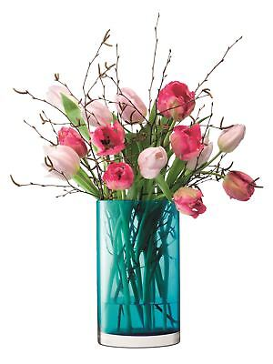 Flower Colour Cylinder Glass Vase Peacock Blue 25cm by LSA International