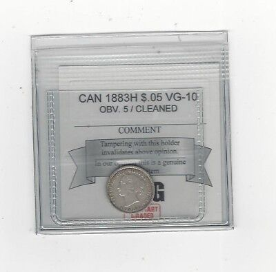**1883H Obv #5**, Coin Mart Graded Canadian,  5 Cent, **VG-10 Cleaned**