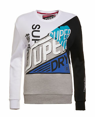 New Womens Superdry Factory Second Skater Colour Block Sweatshirt Silver Mirror