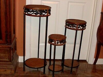 Vintage 3 End Table Side Stands 2 tiered Round Black Metal Bamboo Handmade Plant
