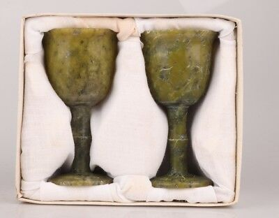 2 Precious Chinese Jade Goblets Cup Hand-Polishe Decorate Gift Collec Handicraft