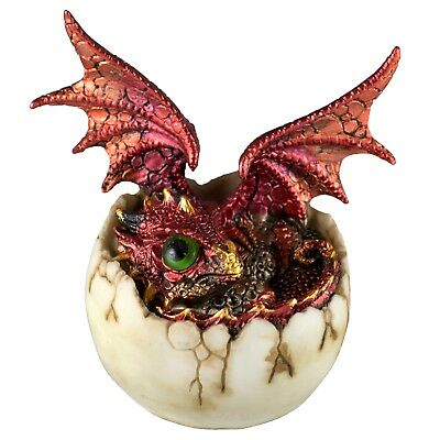 """Red Baby Dragon Hatching From Egg Figurine Statue 4.5"""" High Detailed Resin New!"""
