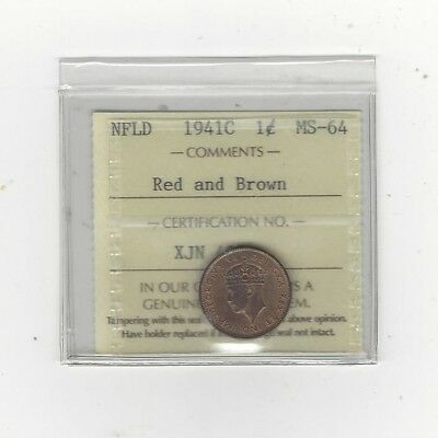 **1941C**, ICCS Graded Newfoundland, Small One Cent, **MS-64**