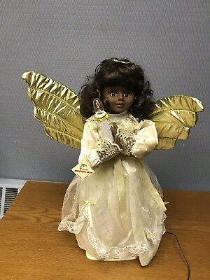 """Telco Motionette Christmas Animated Lighted African American Black Angel 24"""""""