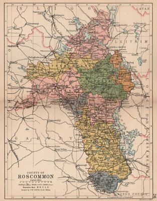 COUNTY ROSCOMMON. Antique county map. Connaught. Ireland. BARTHOLOMEW 1882
