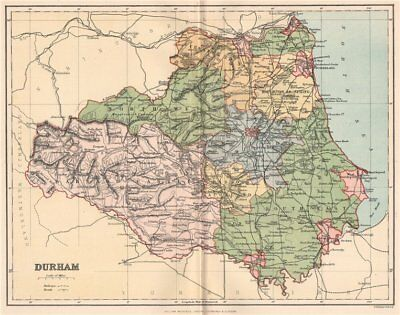 DURHAM. Antique county map 1893 old vintage plan chart