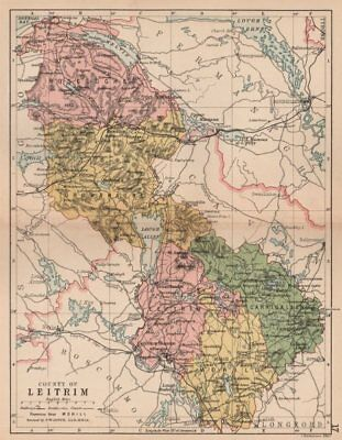 COUNTY LEITRIM. Antique county map. Connaught. Ireland. BARTHOLOMEW 1882