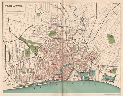 HULL. Antique town/city map plan. Yorkshire 1893 old chart