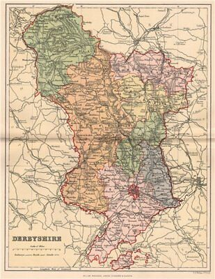 DERBYSHIRE . Antique county map 1893 old vintage plan chart