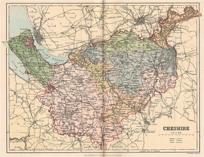 CHESHIRE. Antique county map 1893 old vintage plan chart