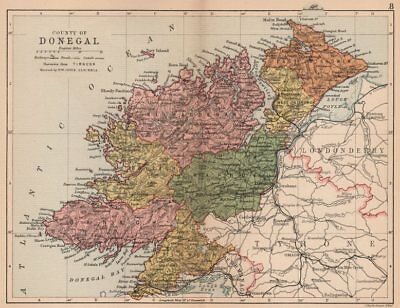 COUNTY DONEGAL. Antique county map. Ulster. Ireland. BARTHOLOMEW 1882 old