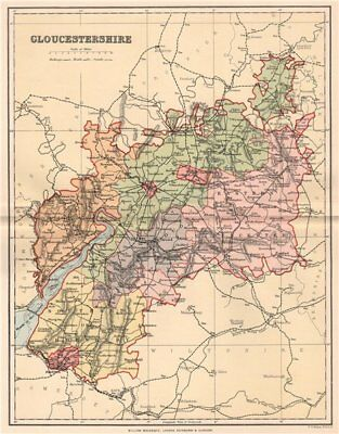 GLOUCESTERSHIRE. Antique county map 1893 old vintage plan chart