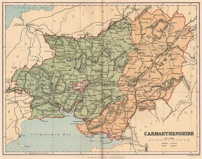 CARMARTHENSHIRE. Antique county map. Wales 1893 old plan chart