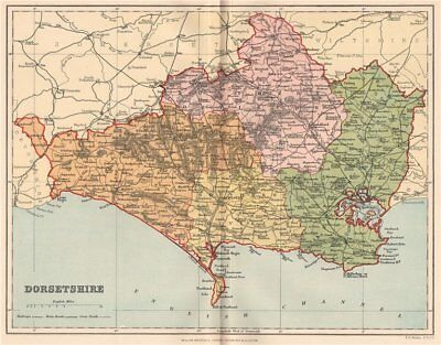DORSETSHIRE. Antique county map 1893 old vintage plan chart