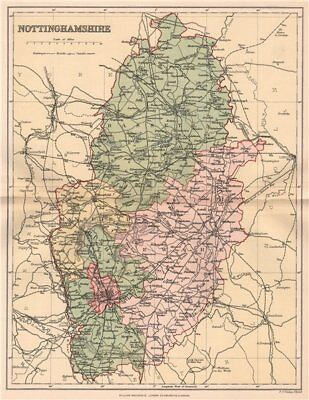 NOTTINGHAMSHIRE. Antique county map 1893 old vintage plan chart