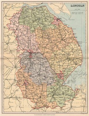 LINCOLN. Antique county map. Lincolnshire 1893 old plan chart
