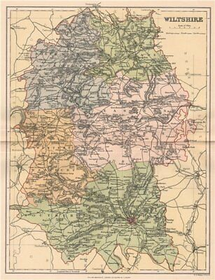 WILTSHIRE. Antique county map 1893 old vintage plan chart