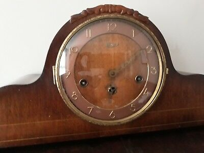 VINTAGE GERMAN WESTMINSTER CHIME Ergos Clock. Beautiful Feather Work On Sides.