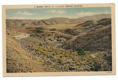 OLD postcard, a scenic drive in Nevada's Mining Country