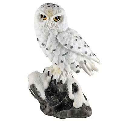 """White Snowy Owl On Rock Figurine Statue 5"""" High Detailed Resin New In Box!"""
