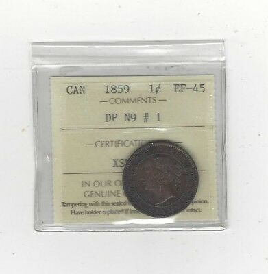 **1859 DPN#1**,ICCS Graded Canadian, Large One Cent, **EF-45**