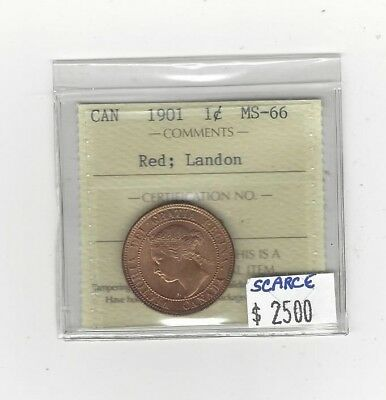 "**1901**,ICCS Graded Canadian, Large One Cent, **MS-66**""Landon Collection"""