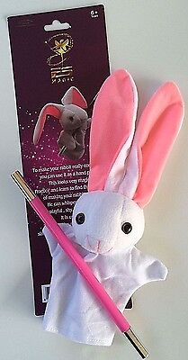 BUNNY PUPPET & MAGIC PINK WAND Set Kit Hand White Vent Prop Toy Magician Rabbit
