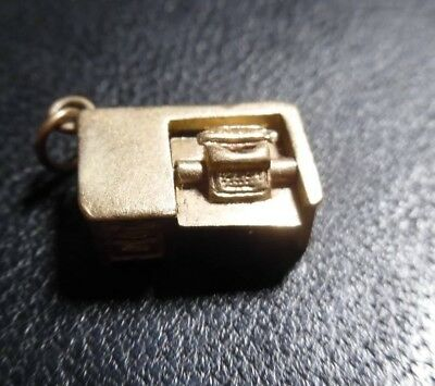 Vintage 14k Yellow Gold 3D Movable Flip Top Typewriter Desk Charm