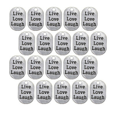 20pcs Silver Alloy Live Love Laugh Tags Charms Pendants for DIY Jewelry 27mm