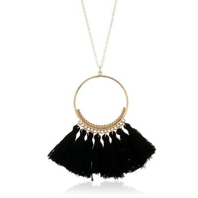 Fashion Boho Women Hollow Round Tassels Pendant Necklaces Sweater Chain Jewelry