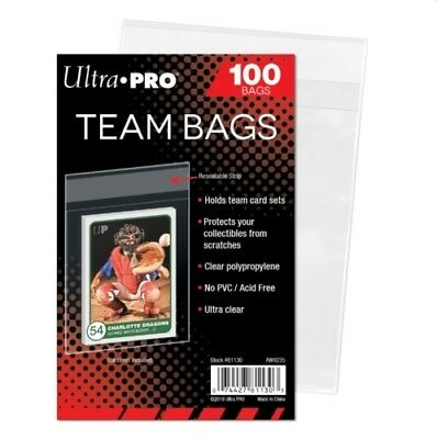 (100 ct Pack) Ultra Pro Team Bags w/ Resealable Strip Ship n Store Trading Cards