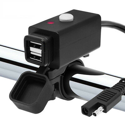 Bike ATV GP Motorcycle 12V SAE to Dual USB Charger Adapter Cable Mount Phone GPS