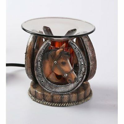 Horseshoe with Horse Polyresin Oil Warmer with Dimmer by Sweet Scents n More
