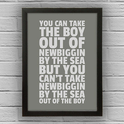 NEWBIGGIN BY THE SEA - BOY/GIRL WORD WALL ART PICTURE POSTER Northumberland