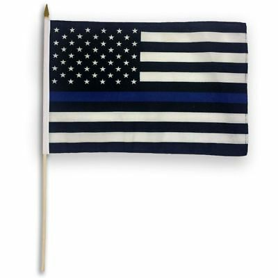 US American Thin Blue Line Stick Flag 12x18in - Blue Live - Police Live Matter