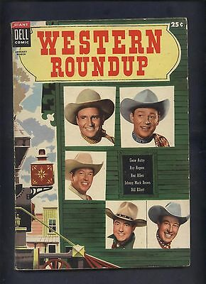 Dell  giant western Roundup #9 movie cowboy 100 pg comic Roy Rogers Gene Autry