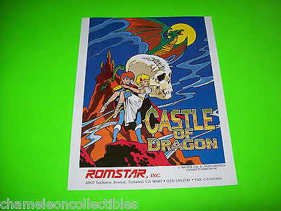 CASTLE OF DRAGON By ROMSTAR 1989 ORIGINAL NOS VIDEO ARCADE GAME PROMO SALE FLYER