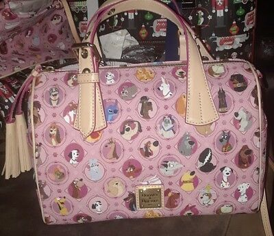 2018 Disney Parks Exclusive Dooney & Bourke Purse Bag barrel satchel PINK DOGS