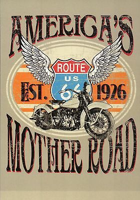 Route 66 America's Mother Road, Motorcycle, Street Sign & Wings, USA Postcard