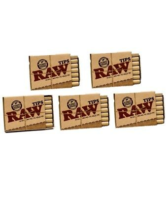 Raw Natural Unrefined Pre-Rolled Filter Tips 5 Pack (21 Per Box) Pack of 5