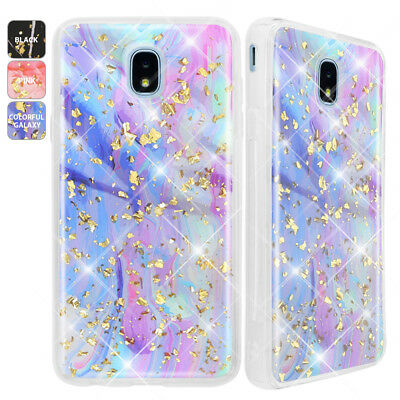 For Samsung Galaxy J3 V 2018/Achieve/Star Shinny Marble Glitter Bling Phone Case